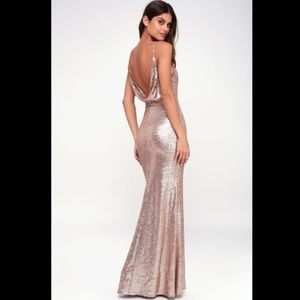 Lulus CHIC CELEBRATION CHAMPAGNE SEQUIN MAXI DRESS